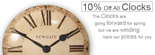 10% Off All our Clocks for Spring