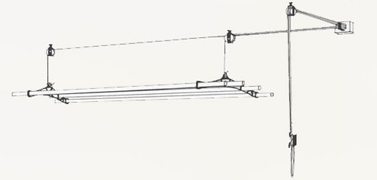 pulley clothes airer installation with a right angle bend