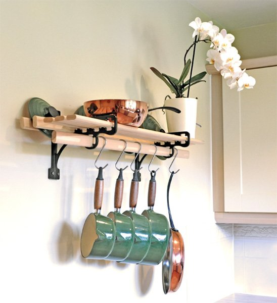 Kitchen Shelf Brackets: 6 Wooden Laths And SOLID CAST IRON