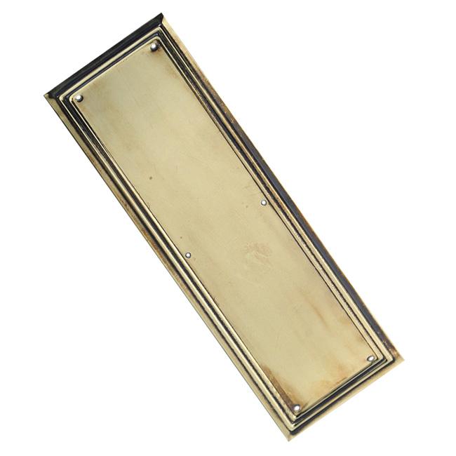 Brass lincoln finger plate brass finger plates brass for Door finger plates