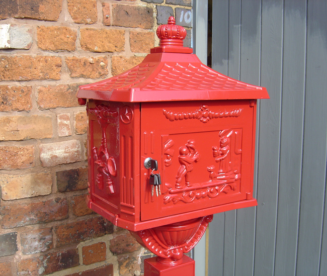 Red Free Standing Post Box Through The Wall Post Boxes