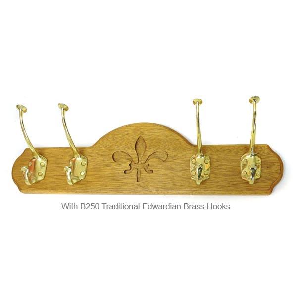 coat hook board 4 hooks oak wood