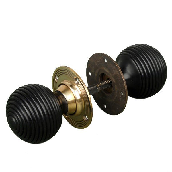 Anvil 83574 Ebony Antique Brass Beehive Door Knobs: Ebony Beehive Door Knobs With Brass Roses Brass Door Knobs