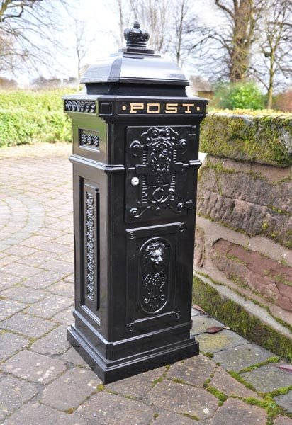 Free Standing Cast Iron Post Box Regent Black
