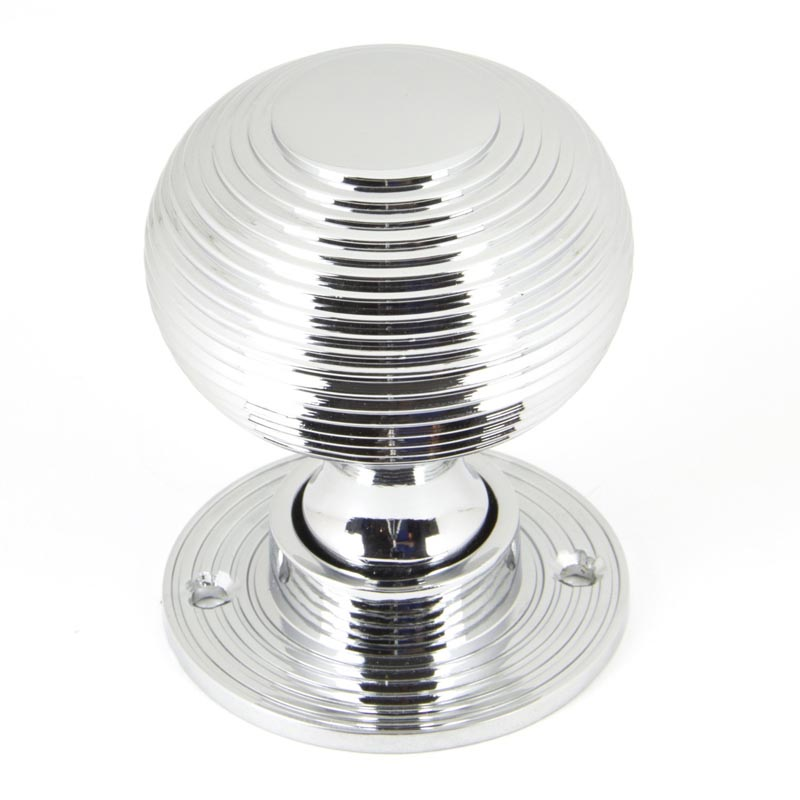 From The Anvil Reeded Polished Chrome Beehive Door Knobs 90273