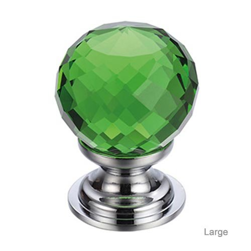 Facetted Green Glass Cabinet Knob
