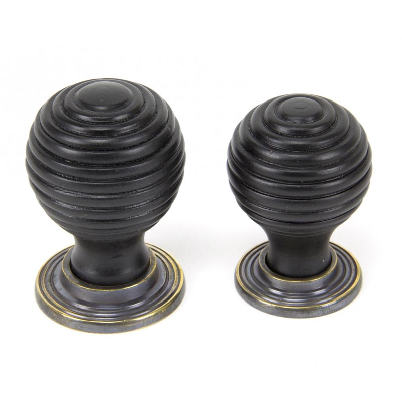 From The Anvil Beehive Ebony Cabinet Knob With Brass Rose 83871 83872