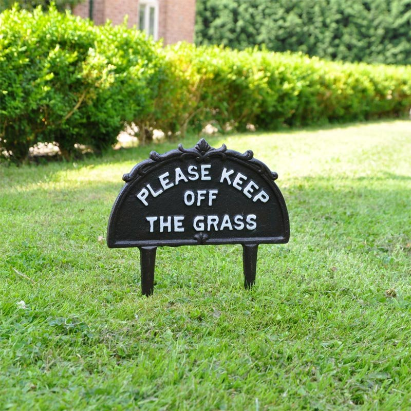 Please Keep Off The Grass Sign Cast Iron