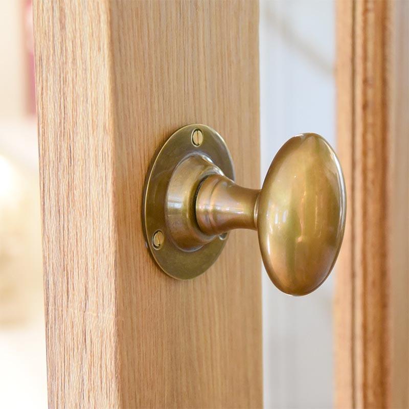 Antique Brass Oval Door Knobs Brass Door Knobs   Door Furniture ...