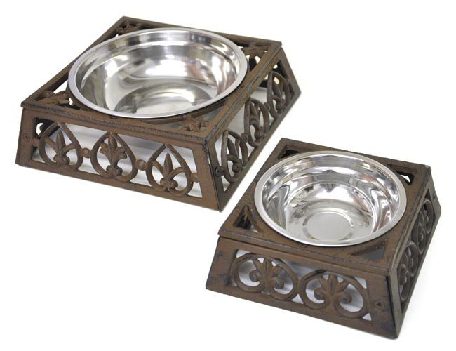 Cast Iron Cat and Dog Bowl