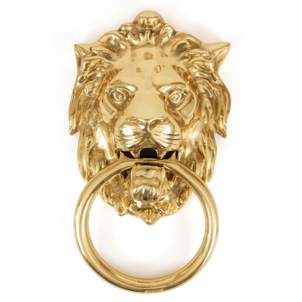 Regency Lions Head Door Knocker Polished Brass