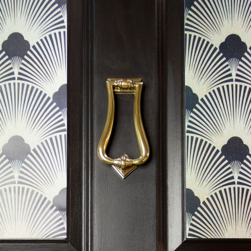 Period Slimline Art Deco Door Knocker - Aged Brass