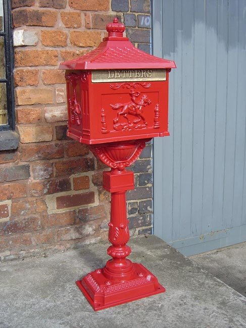 Red Free Standing Post Box Cast Iron Post Boxes Through