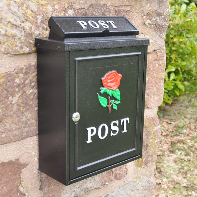 Red Rose Wall Mounted Post Box Through The Wall Post Boxes