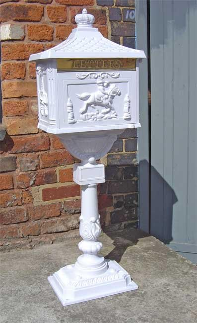 White Free Standing Post Box Cast Iron Post Boxes