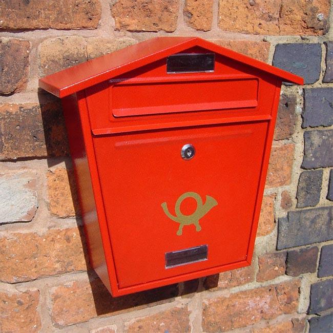 Thorpe Wall Mounted Post Box - Red Finish