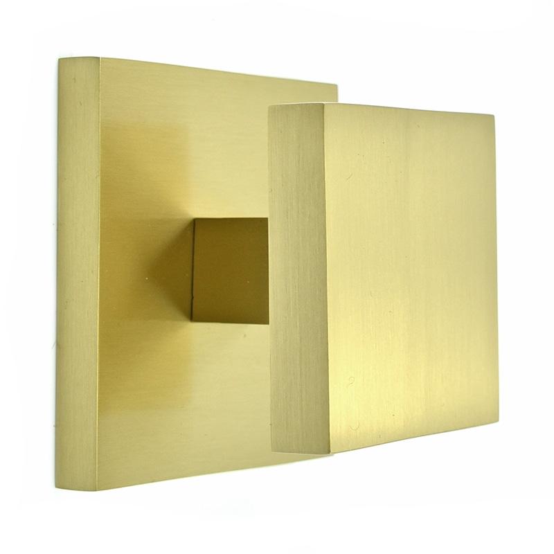 Square Centre Door Knob - Satin Brass