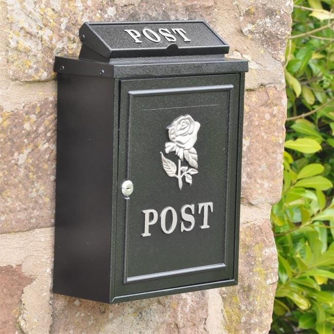 Rose Wall Mounted Post Box Silver Finish Wall Mounted