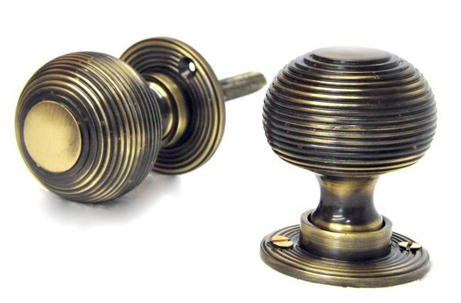 Antique Brass Reeded Door Knobs - Antique Brass Reeded Door Knobs Brass Door Knobs Door Furniture