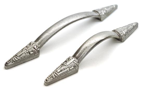 Nickel Gothic Aztec Edged Iron Pull Handle