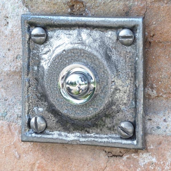 Kirkpatrick 1759 Square Bell Push - Pewter Finish