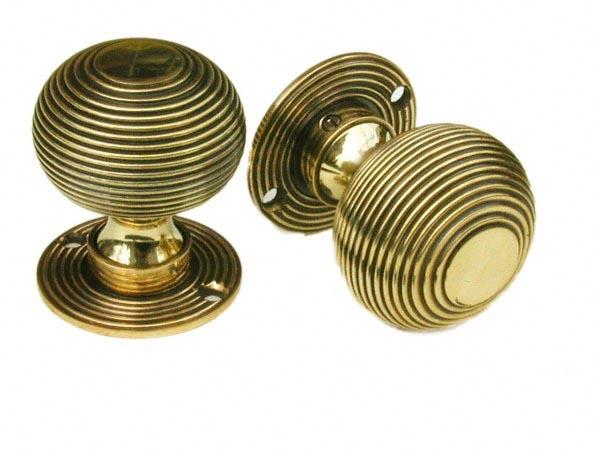 Brass Beehive Queen Anne Door Knobs