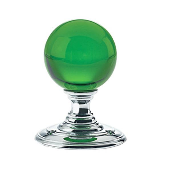 Green Glass Ball Door Knobs on Polished Chrome Roses