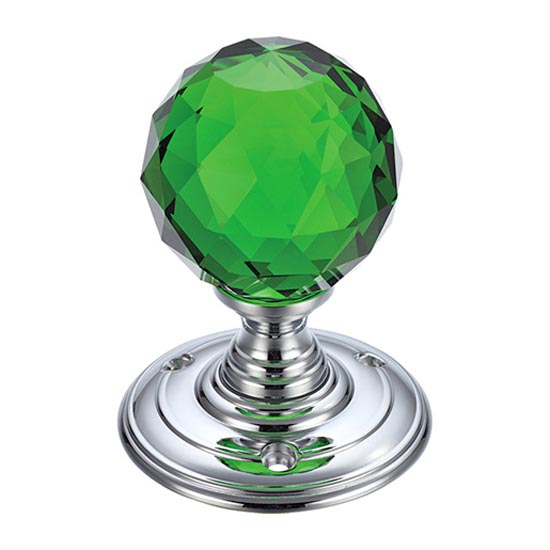 Facetted Green Glass Ball Door Knobs on Polished Chrome Roses