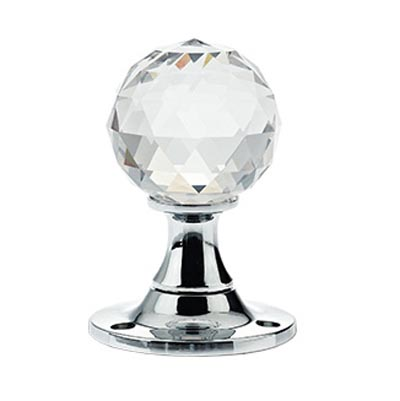 Facetted Clear Glass Ball Door Knobs on Plain Polished Chrome Roses
