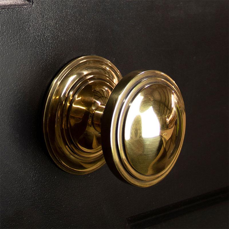 Period Art Deco Centre Door Knob - Aged Brass