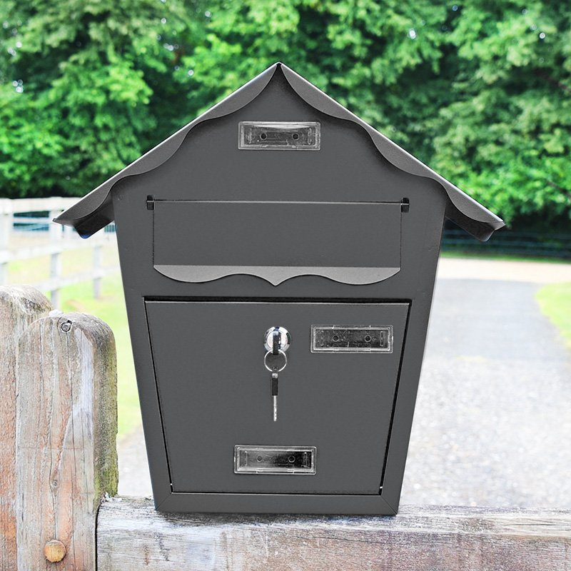 Home Accessories Cottage Wall Mounted Post Box - Anthracite Finish