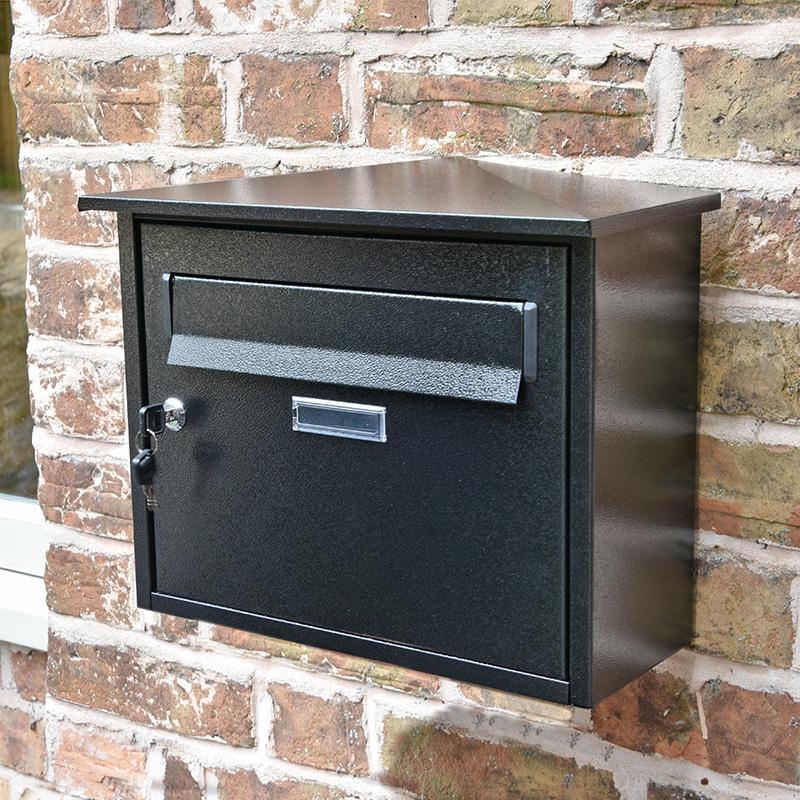 Rectangular Wall Mounted Post Box - Black Finish