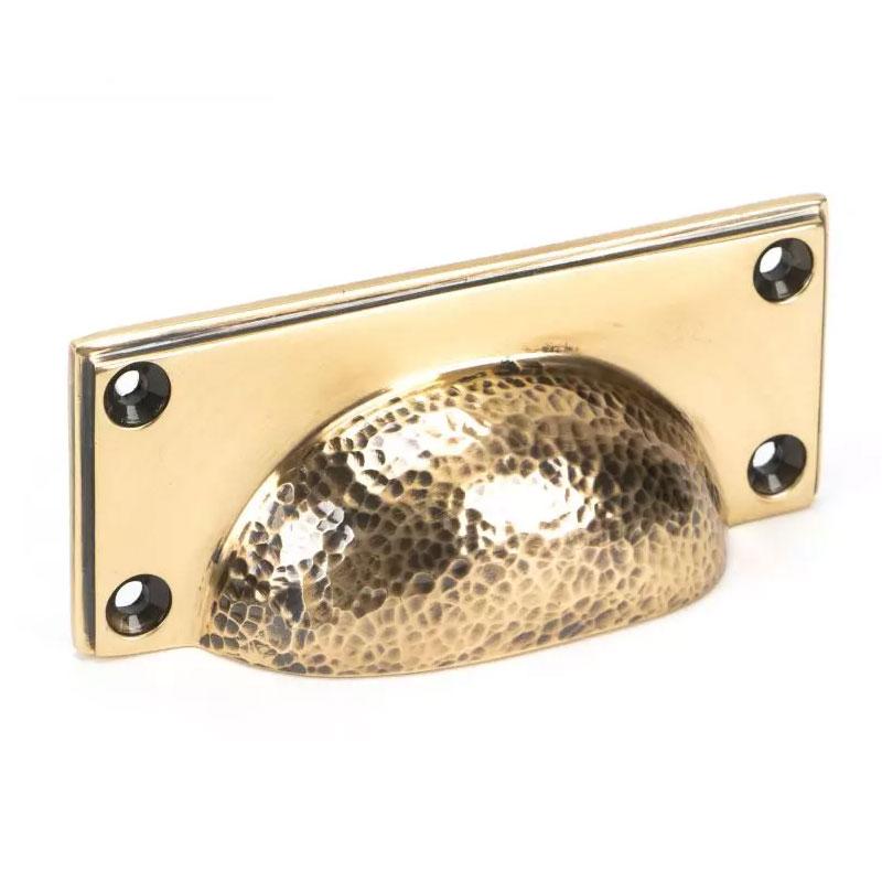 Hammered Art Deco Drawer Pull - Polished Bronze