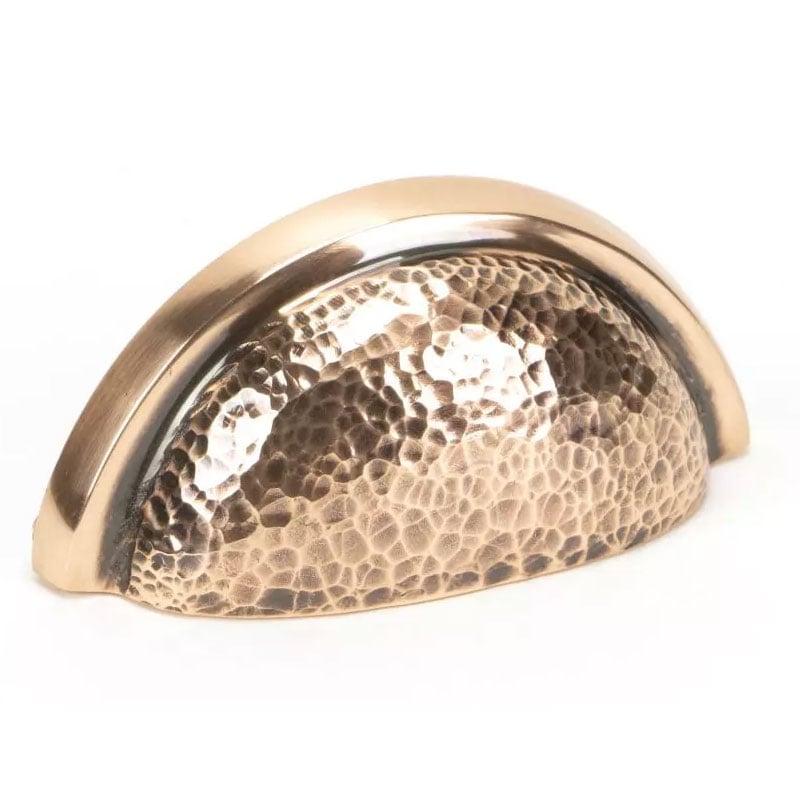 Hammered Regency Concealed Drawer Pull - Polished Bronze