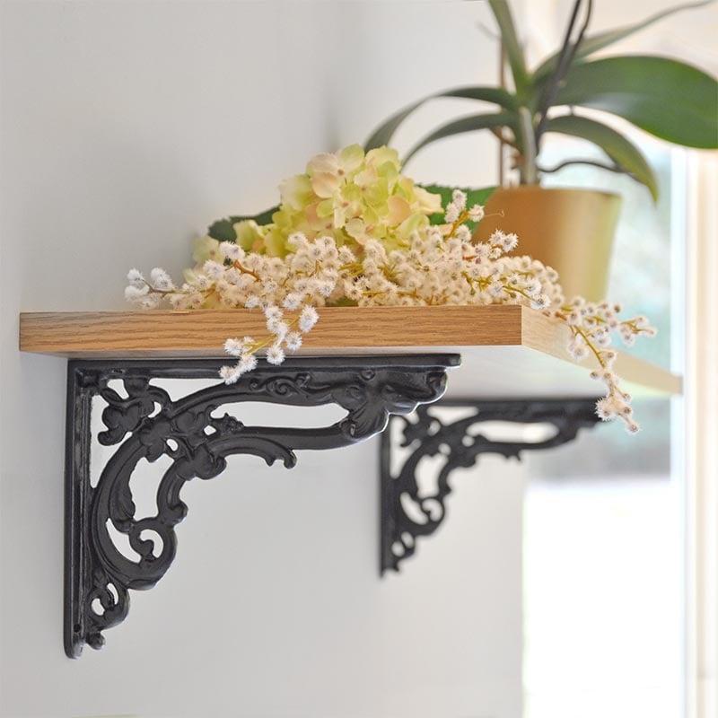 victorian scroll leaf cast iron shelf bracket