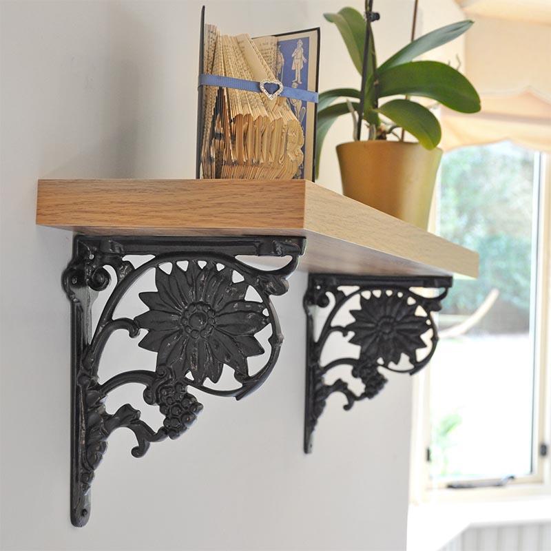 iron shelf of brackets set cast arched