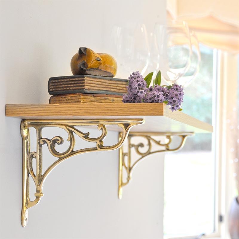 Brass Oblique Shelf Bracket Brass Brackets   Solid Brass Brackets   Shelf  Brackets   Hanging Basket Brackets   Cast In Style