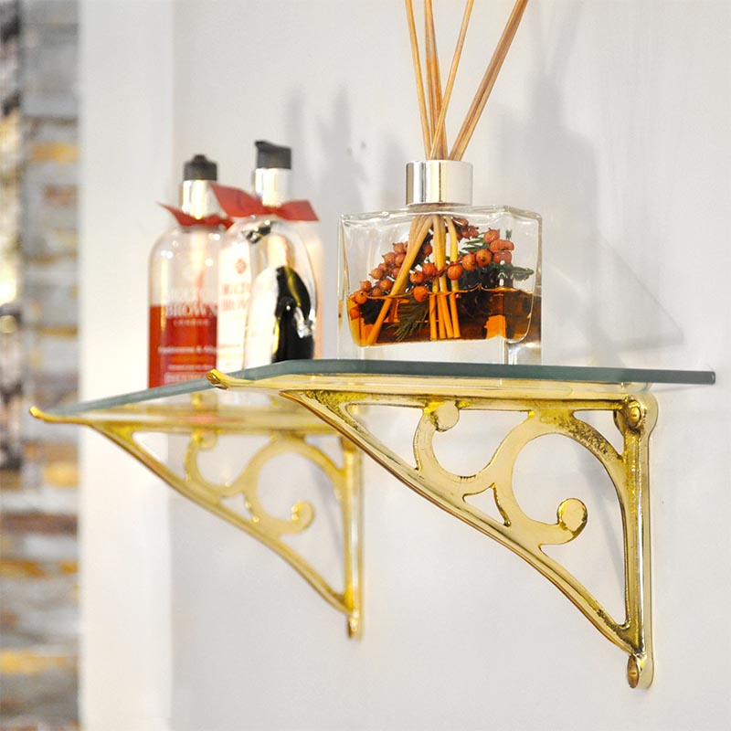 Brass Simple Scroll Glass Shelf Bracket