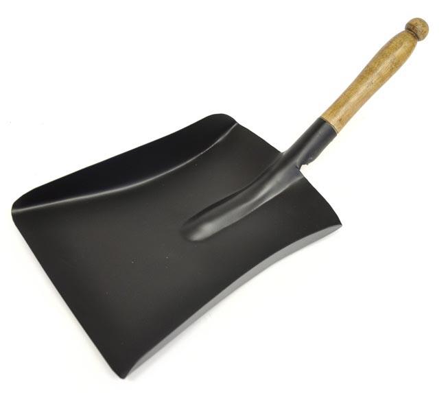 Black Shovel with Wooden Handle