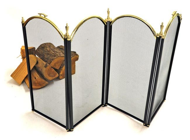 Windsor Fire Screen - Black and Brass