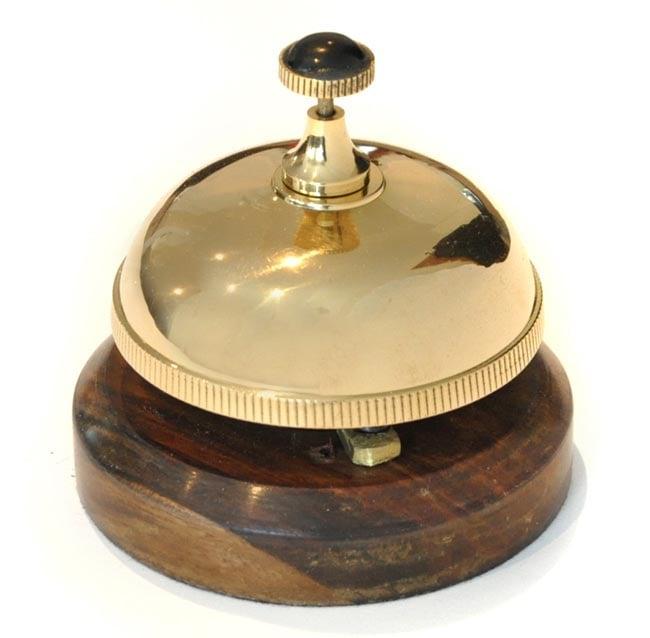 Brass Desk Bell With Wooden Base Cast Iron Bells Brass Bells School Hand Bells Butler