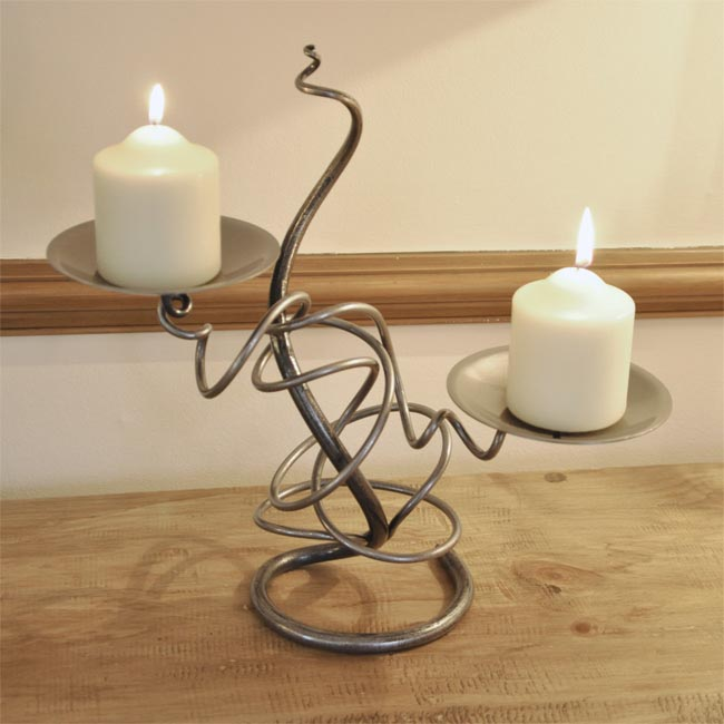 Wrought Iron Candle Holder Hand Made Double Candle