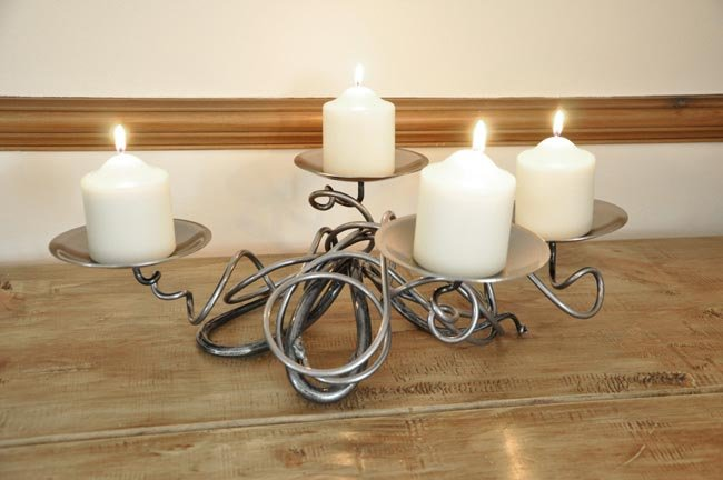 Hand Forged Quad Table Candle Holder