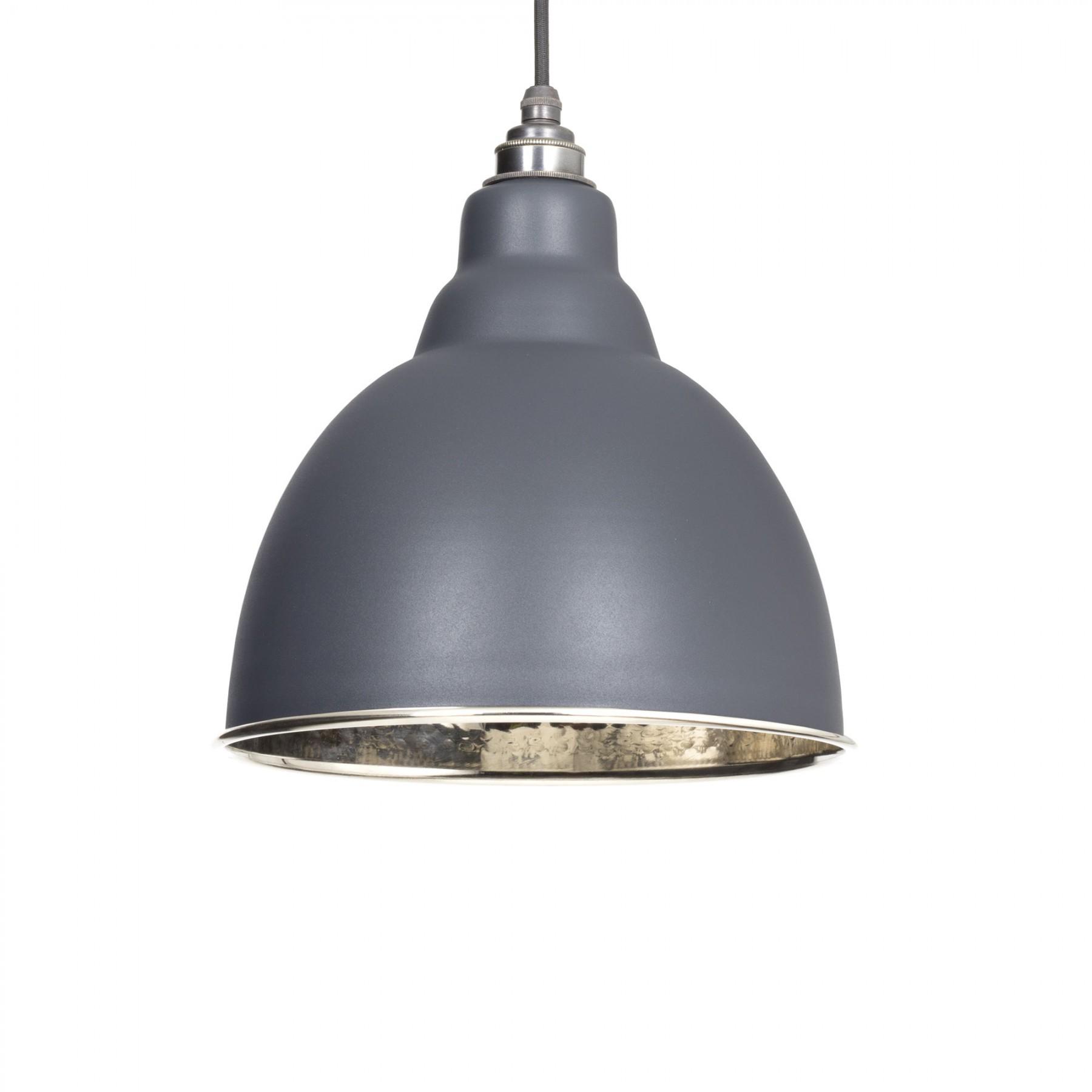 Brindley Pendant - Dark Grey Exterior and Hammered Nickel Interior