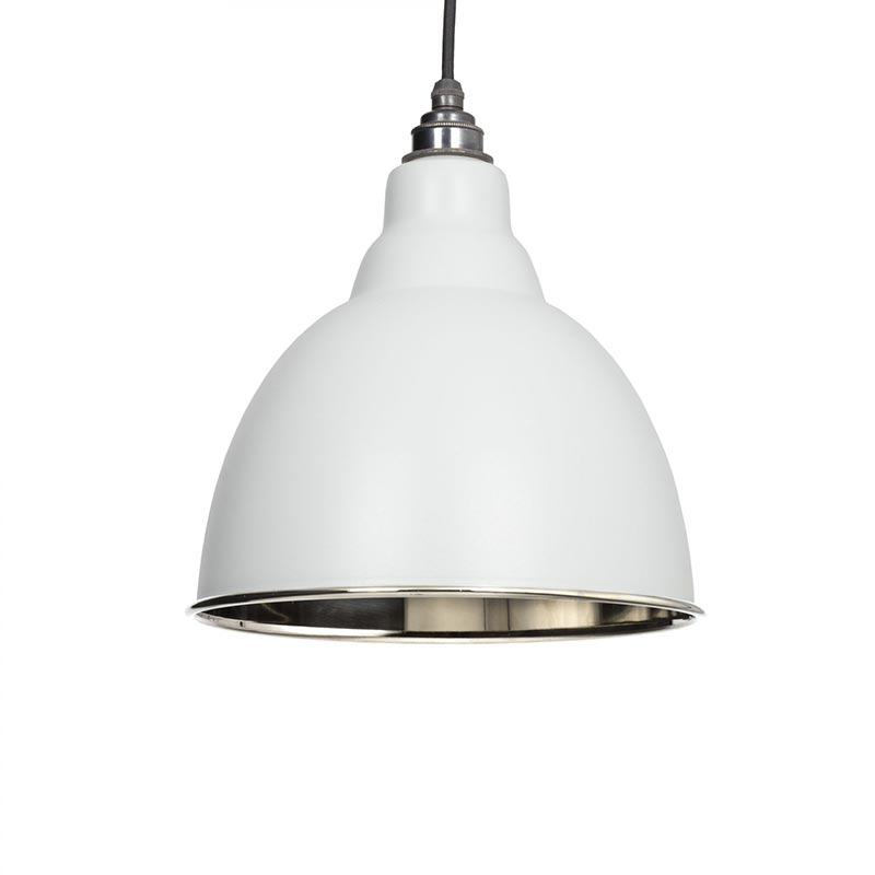 Brindley Pendant - Light Grey Exterior and Hammered Nickel Interior