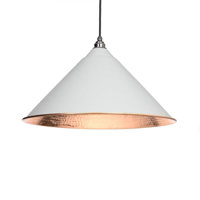 Hockley Pendant - Light Grey Exterior with Hammered Copper Interior