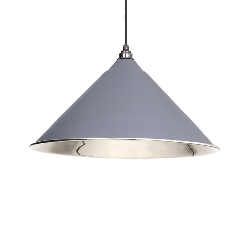 Hockley Pendant - Dark Grey Exterior with Smooth Nickel Interior