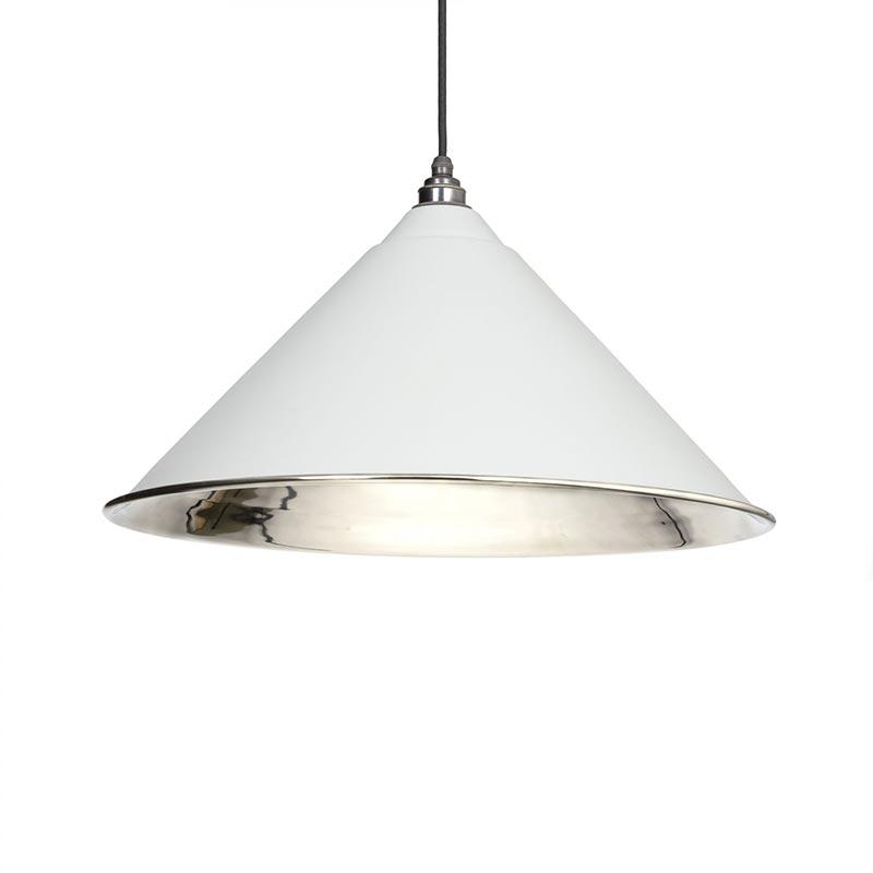 Hockley Pendant - Light Grey Exterior with Smooth Nickel Interior