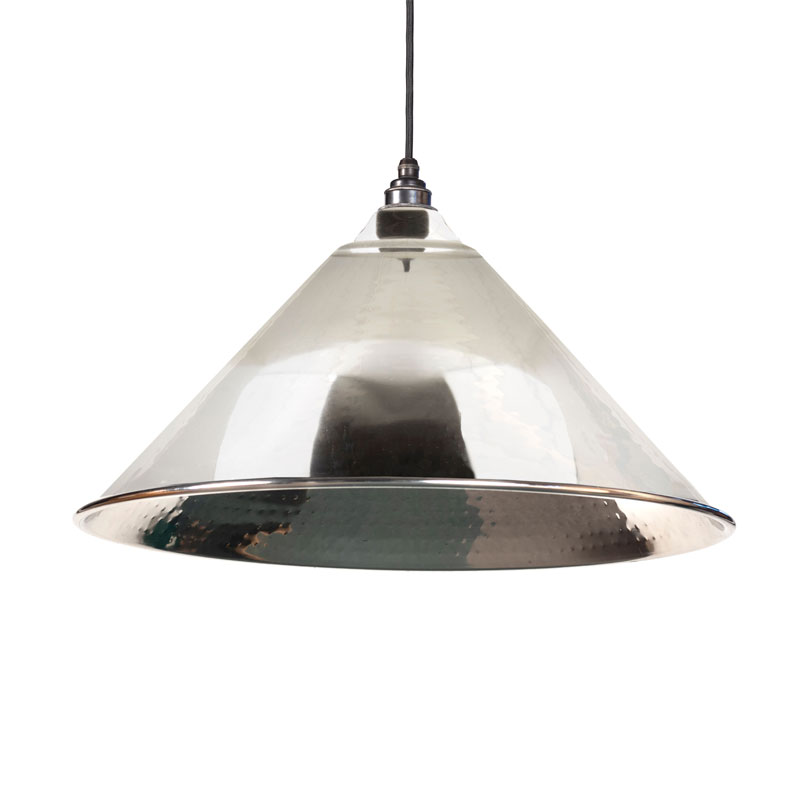 Hockley Pendant - Hammered Nickel Exterior and Interior