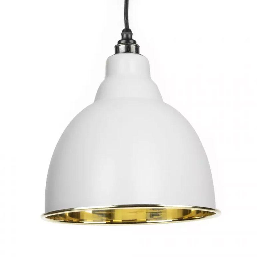 Brindley Pendant - Light Grey Exterior with Smooth Brass Interior